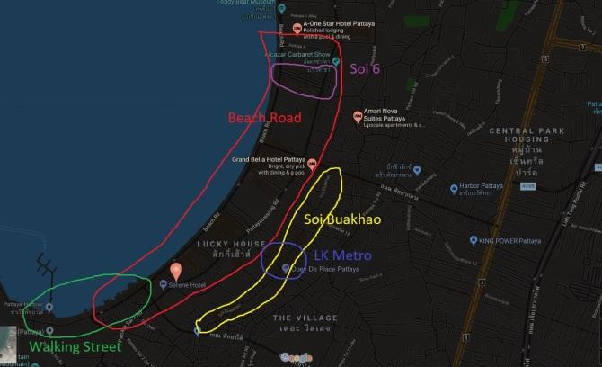 Pattaya mapa, Tajlandia, imprezy