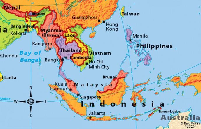 Mapa Azji południowo wschodniej